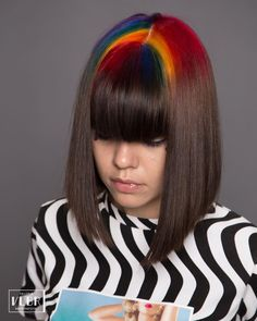 pictame webstagram 🌈 Color placement only at the regrowth! Color Stripes, Color Pop, Hair Color Placement, Bob With Bangs, Naturally Curly Bob, Hair Raising, Rainbow Hair, Long Bob, About Hair