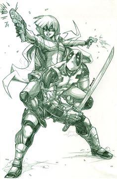 Hit-Girl x Deadpool (pencils) by emmshin.deviantart.com on @deviantART