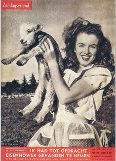 Norma Jeane/Marilyn Monroe on the cover of Zondagsvriend magazine, 1952, Holland. Photo by Andre de Dienes, 1945. ~ Pinned by Nathalie Gobbe, during the period of 1949 to 1952.