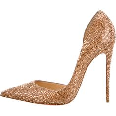 Pre-owned Christian Louboutin Strass d'Orsay Pumps ($1,395) ❤ liked on Polyvore featuring shoes, pumps, heels, pink, pink suede pumps, pink pumps, metallic pumps, d'orsay pumps and pointed toe pumps