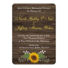 Sunflower Country Wood Rehearsal Dinner Invitation