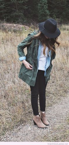 Black pants, white tee, denim shirt with an olive jacket