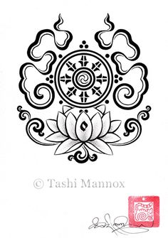Dharma Wheel on Lotus design by Tashi Mannox Buddhist Symbol Tattoos, Buddhist Symbols, Buddhist Art, Symbolic Tattoos, Tibetan Symbols, Lotus Flower Tattoo Meaning, Flower Tattoo Meanings, Flower Tattoo Designs, Flower Tattoos