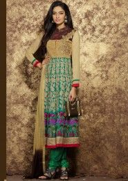 Green Cotton Party Wear Embroidered Work Straight Suit
