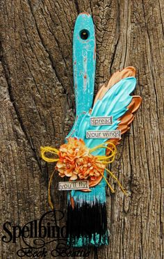 Altered paint brush by Beck Beattie | Spellbinders