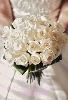 Winter Wedding - white rose bridal bouquet with pearl accents...Love!