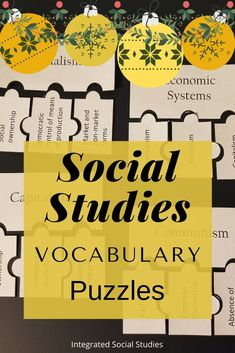 In this TpT resource you get over 100 puzzles that support social studies curriculum. Students need to know MANY words to be successful in all social studies classes - use these puzzles as a fun way to teach and assess all the words. Create word groups or divide them up by unit. Get all the details and purchase from my TpT store. #gamesintheclassroom #highschoolhistory #worldhistory #tptpins #teacherspayteachers