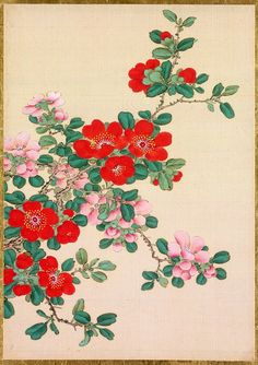 Silk painting of flowers by Okamoto Shūki (Japan, from an album of pictures of birds and flowers. Chinese Flowers, Oriental Flowers, Japanese Flowers, Botanical Drawings, Botanical Illustration, Botanical Prints, Japanese Art Styles, Japanese Painting, Japan Art