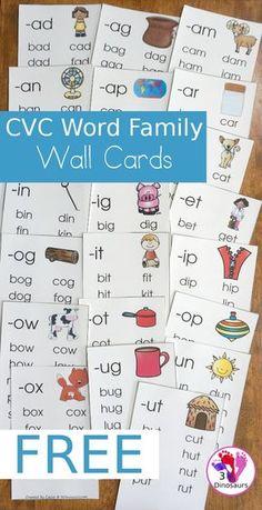 FREE CVC Word Family Wall Cards