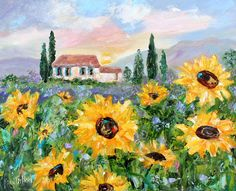 Tuscany Sunflowers painting in oil landscape palette knife impressionism on canvas 16x20 fine art by Karen Tarlton #Tuscany #sunflowers #etsyseller #etsyshop
