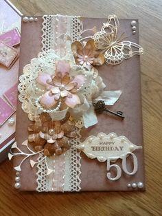 50th birthday card using craftwork cards flower fusion.