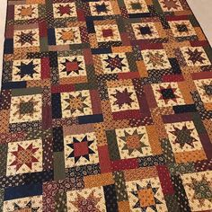 "It's Throwback Thursday.one of my favorite quilts.""Lucky Stars"" by a Kansas Troubles fabrics and one of my… Star Quilt Blocks, Star Quilt Patterns, Star Quilts, Scrappy Quilts, Block Patterns, Quilting Ideas, Primitive Quilts, Antique Quilts, History Of Quilting"