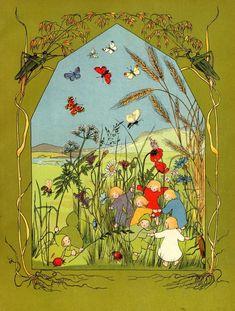 Elsa Beskow, Art And Illustration, Vintage Illustrations, Forrest Illustration, Baumgarten, Vintage Fairies, All Nature, Parcs, Faeries