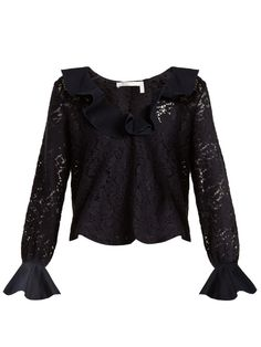 See By Chloé Ruffled-neck lace-knit top