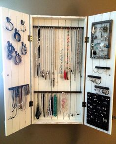 Your place to buy and sell all things handmade - Jewelry Cabinet Wall Organizer Jewelry Necklace Organizer The Effective Pictures We Offer You About - Diy Jewelry Cabinet, Jewelry Wall, Jewellery Storage, Wooden Jewelry, Diy Jewelry Armoire Mirror, Wooden Earrings, Etsy Jewelry, Wand Organizer, Wall Mount Jewelry Organizer