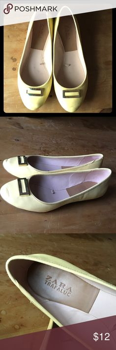 Yellow Zara flats Cute yellow leather flats with gold buckle detail. Worn a few times. Little too big for me, I'm usually a 36.5. Zara Shoes Flats & Loafers