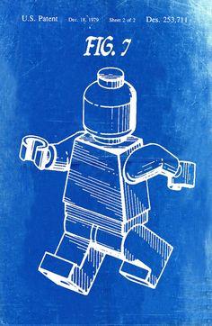 Lego Patent Blueprint Art of a Lego Figurine Man by BigBlueCanoe