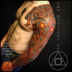 "God of Fire tattoo by Meatshop-Tattoo ""This takes the prize for insane tattoos i have done so far. Based on Nordic styles from the viking-age, combined with very contemporary ideas. God Tattoos, Tattoos Arm Mann, Arm Tattoos For Guys, Future Tattoos, Body Art Tattoos, Tribal Tattoos, Sleeve Tattoos, Tatoos, Armor Tattoo"