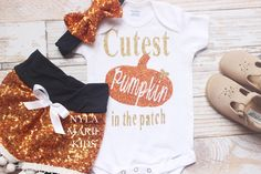 Halloween baby costume, baby sequin shorts, My first Halloween, Cutest pumpkin, Girls Halloween outfit,