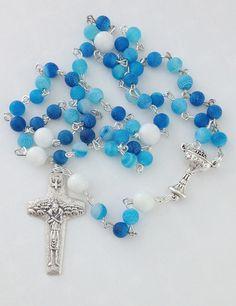 Blue Baptism Rosary 5 Decade Catholic Traditional Blue