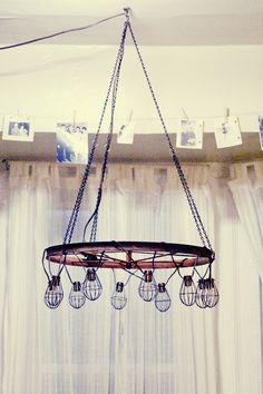 Cool wagon wheel chandelier