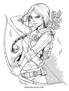 Katniss Ink, by KelleeArt on deviantART. >> Although not a personal fan of the Hunger Games trilogy, I like this archery pose. Neat!