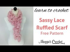 Crochet Ruffled Scarf Sassy Lace Red Heart Yarn - Right Handed - YouTube