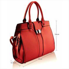 Stylish Red Twist Lock Tote Bag