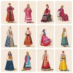 Russian Folk Costume Dress Part I. Drawings by V. Sorokin.