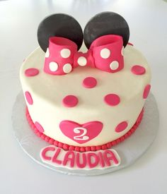 Minnie Mouse - hot pink minnie mouse birthday cake