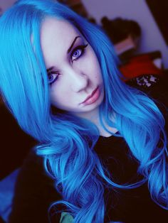 Bright blue hair #hair #dyed #vibrant #bright