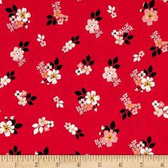 Riley Blake Vintage Daydream Floral Red from @fabricdotcom  From Design by Dani for Riley Blake Designs, transport yourself to yesteryear with this sweet cotton print collection features retro florals, tribal prints, bunting, and more! Perfect for quilting, apparel, and home decor accents. Colors include shades of pink, charcoal, white, and taupe.