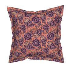 Serama Throw Pillow featuring Pink paisley by argunika | Roostery Home Decor