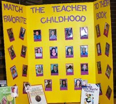 Match the teacher to their favorite childhood book - good idea for a library bulletin board or contest