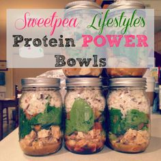 Keep these mason jar meals in your fridge during the week. A quick go to for the fitness health conscious on the go! Takes an hour to make 10 mason jar meals! Mason Jar Lunch, Mason Jar Meals, Meals In A Jar, Mason Jars, High Protein Recipes, Diet Recipes, Cooking Recipes, Healthy Recipes, Jar Recipes