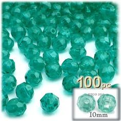 Plastic Faceted Beads, Round Transparent, 10mm, 100-pc, Teal