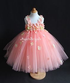 Petal peach hydrangea flower girl tutu dress by MagicTulleCouture