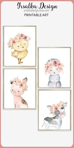 Farm animals print set 6 Floral Baby Farmhouse nursery Decor Little girl pink bedroom Creatures Wall decor Barnyard Cow Sheep Pig Chick #yrsalka #nursery #nurseryart #printablenurseryart #farmanimals