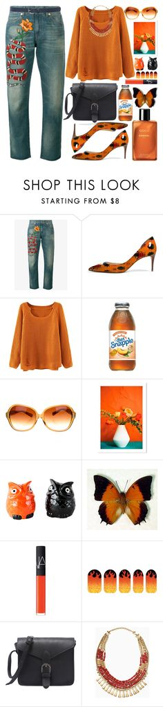 """Florals Orange"" by grozdana-v ❤ liked on Polyvore featuring Gucci, Oliver Peoples, Dot & Bo, NARS Cosmetics, Tattify, Stella & Dot and M&Co"