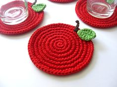 Red Apple Crochet Coasters