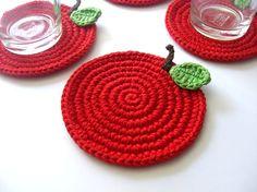 Red Apple Crochet Coasters