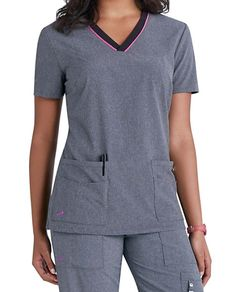 Lynx Untamed ... break free from ordinary scrubs! This collection offers VersaTec 4-way stretch material that provides movement at the stress points (back yoke and armholes) to give you additional mobility. Accents such as front bust and back waist darts plus novelty pick-stitching at the bottom hem and sleeve give this top a feminine flare. Two layered pockets with six storage slots and a badge holder give you lots of options to store your accessories.   Lynx Untamed Unleashed V-neck Scrub…