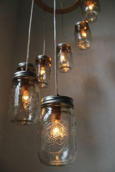 Spiral Mason Jar Chandelier Hanging Swag Lighting Fixture - Carousel Mason Jar Lights - Industrial Rustic Wedding - BootsNGus Lamp Design