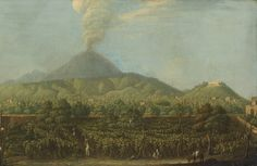 "pietro fabris - view of william hamilton´s villa, the ""villa angelica"" with the first appearance of the eruption of vesuvius in 1767, naples, oil on canvas."