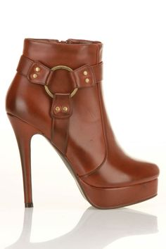 Cognac Leather Booties / Charles David