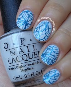 Double Blue Leafy Stamping Nail Art, using OPI: My Boyfriend Scales Walls as a base plays double stamping done with American Apparel: American Denim and Dearberry 32 with stamping plate BP-50 from Born Pretty Store