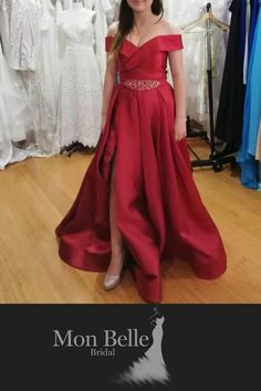 Custom design ball gown in any colour  I think it'll look beautiful as a simple wedding dress in ivory - with or without belt.  #simpleweddingdress #satinballgown #customdesign