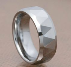 8mm Triangle Faceted Shiny Bevel Edge Tungsten Carbide Band Men's Wedding Ring FlameReflection. $15.99. Includes a custom design Treasure box to hold your new piece of Jewelry!