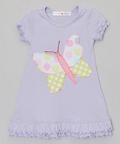 Look at this #zulilyfind! Lilac Polka Dot Butterfly Dress - Infant, Toddler & Girls by mini scraps #zulilyfinds