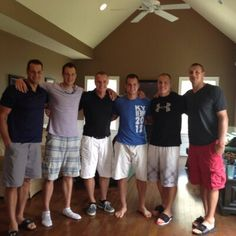 gronkowski brothers - and you can see big-ass 'Baby Huey' on the end. clearly an over-sized man-beast compared to the others. . .